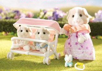 Calico Critters 2625 Patty & Paden's Double Stroller Set
