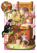 CATS IN DRESSER - CARD