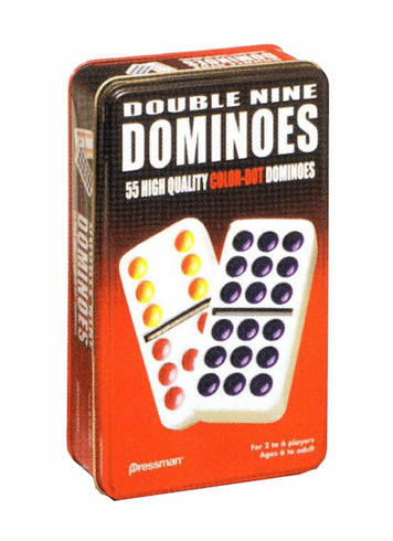 Dominoes Double Nine w/Tin