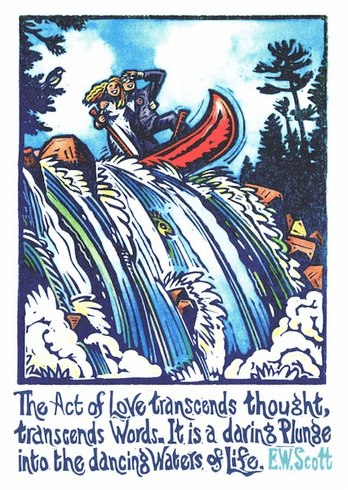 Going over falls in canoe card