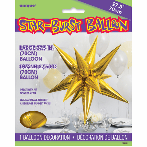 Gold 3D Star Air-Filled Balloon