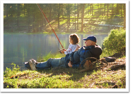 Grandpa Fishing With Girl