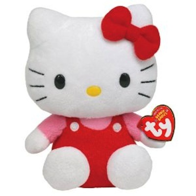 """Helly Kitty Red Overalls Beanie Baby 8"""""""