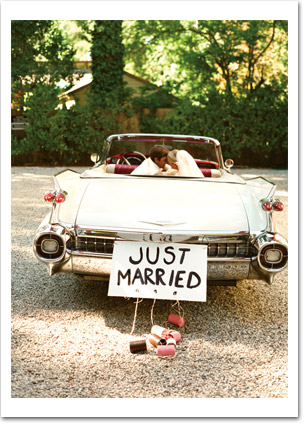 Just Married Car and Couple