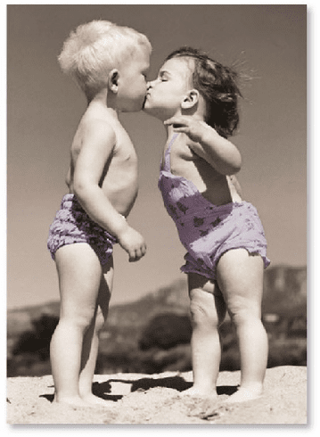 Kids Kissing At Beach