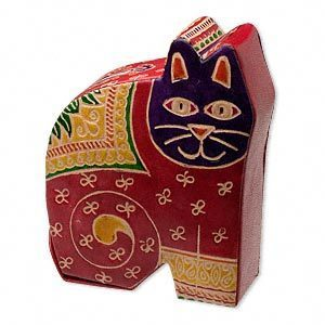 Large Leather Cat Bank
