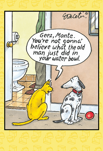 Monte's Water Bowl Birthday Card
