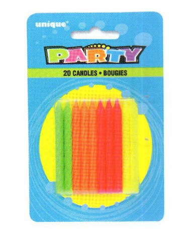 20 Neon Multicolored Candles