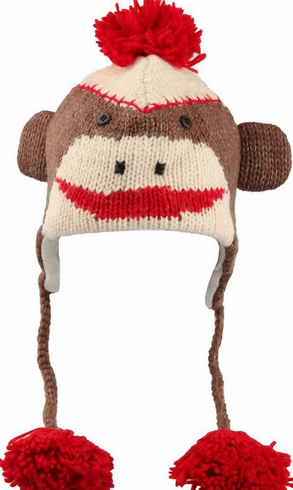 Nepali Wool Adult Brown Sock Monkey Hat