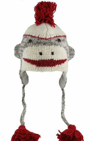 Nepali Wool Adult Grey Sock Monkey Hat