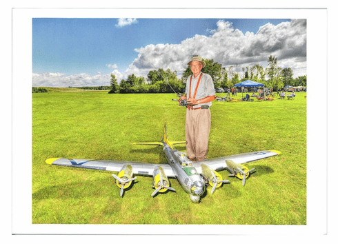 Old man and plane