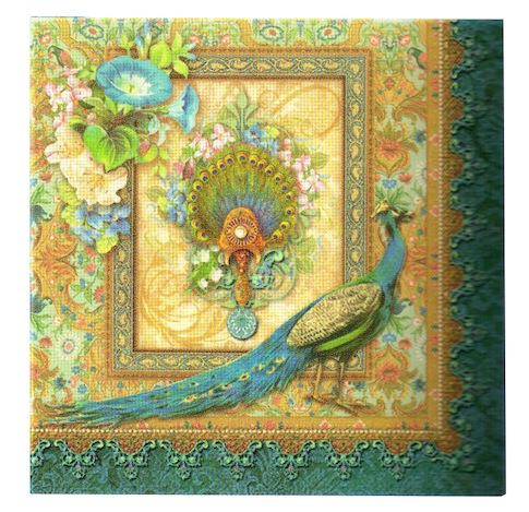 PEACOCK BEVERAGE NAPKINS
