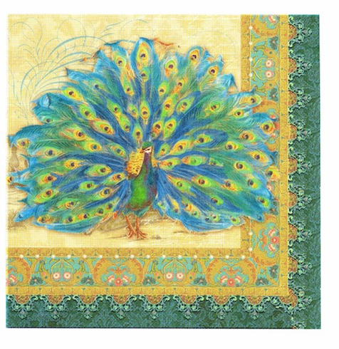 PEACOCK LUNCH NAPKINS
