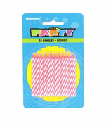 24 Spiral Pink B'Day Candles