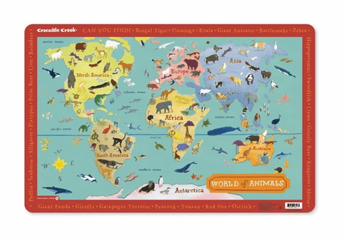 Placemat: World Animal Map