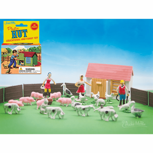 Plastic Hut Farmer & Animals