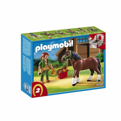 Playmobil 5108 Shire Horse with Groomer and Stable