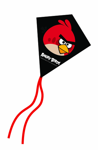 Red Angry Birds Mini Poly Diamond Kite 7.5""