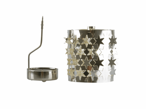 Rotating Light Stars Candle Holder, Metal Silver