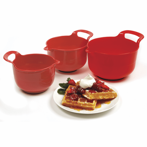 Set of 3 Red Mixing Bowls
