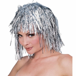 Short Silver Tinsel Wig