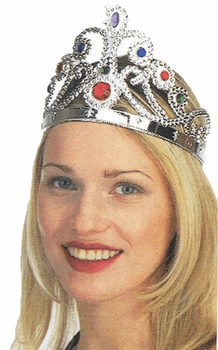 Silver Plastic Jeweled Queen Crown