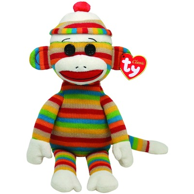 Socks the Sock Monkey - Rainbow Stripes 13""