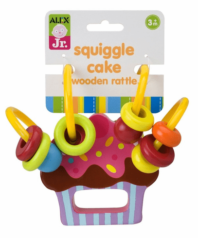 Squiggle Cake Wooden Rattle