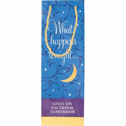 """What Happens Tonight... Goes on Facebook Tomorrow"" Wine Bottle Gift Bag"