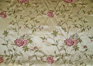 BARANZELLI AUDRIANA EMBROIDERED BOUQUETS SILK SATIN UPHOLSTERY FABRIC 10 YARDS CHAMPAGNE