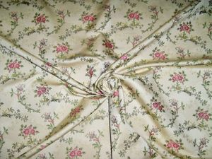 BARANZELLI SCALAMANDRE GINERVA SHABBY ROSES FLORAL BROCADE FABRIC 14 YARDS CREAM PINK PURPLE