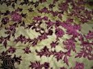 BEACON HILL MALAVELLA VELVET EMBROIDERED SILK DAMASK FABRIC 9 YARDS BURGUNDY GOLD
