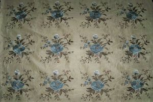 BEACON HILL MATILDA JEAN EMBROIDERED SILK LINEN FABRIC 12 YARDS ADRIATIC BLUE