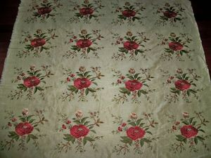 BEACON HILL MATILDA JEAN EMBROIDERED SILK LINEN FABRIC 12 YARDS POMEGRANATE