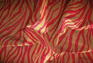 BEACON HILL MUMBAI ANIMAL SKINS RIBBED SILK VELVET FABRIC 10 YARDS FIRE RED GOLD