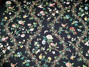 BRUNSCHWIG & FILS SILK ROAD FLORAL COTTON FABRIC 10 YARDS BLACK MULTI