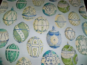 KRAVET COUTURE LEE JOFA FABERGE EGGS LINEN TOILE FABRIC 10 YARDS ROBINS EGG BLUE GREEN MULTI