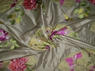 LEE JOFA KRAVET ORIENTAL FANS & CHINESE PEONY CHINOISERIE EMBROIDEREY & APPLIQUE SILK FABRIC SAMPLE