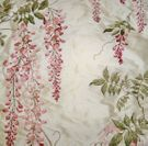 COLEFAX & FOWLER WISTERIA EMBROIDERED SILK FABRIC 10 YDS PINK ROSE GREEN CREAM