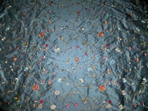 DESIGNER EMILE EMBROIDERED FLORAL SILK FABRIC 20 YARDS SAPPHIRE BLUE RED MULTI