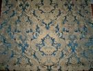 DESIGNER STROHEIM & ROMANN WELDON LOTUS MEDALLION SILK DAMASK FABRIC 7 YARDS SAPPHIRE BLUE / OLD GOLD
