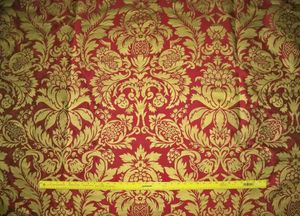 BARANZELLI SKYLER REGAL RED & ANTIQUE GOLD METALLIC PRINTED SILK TAFFETA FABRIC 9.5 YARDS