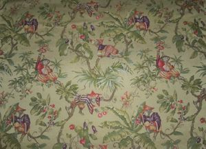 "ITALIAN ""SCIMMIE CINESI"" WHIMSICAL CHINOISERIE MONKEYS LAMPAS DAMASK FABRIC YELLOW GOLD  MULTI 30 YARD BOLT"
