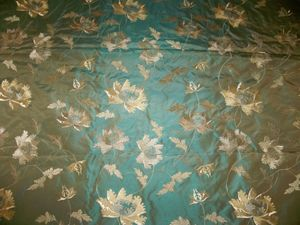 KRAVET COUTURE LEE JOFA DAMIER EMBROIDERED FLORAL SILK TAFFETA FABRIC 10 YARDS IRIDESCENT CYAN (BLUE GREEN) BEIGE