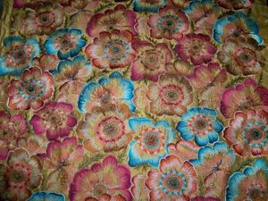 KRAVET COUTURE LEE JOFA POPPIES EMBROIDERED FLORAL SILK FABRIC 10 YARDS GOLD ROSE TURQUOISE MULTI