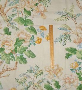 LEE JOFA KRAVET CHINOISERIE PEONY TREE FABRIC CREAM GREEN BLUE YELLOW