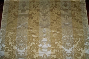 LEE JOFA KRAVET COUTURE MILANO LOTUS MEDALLION SILK DAMASK FABRIC 10 YARDS GOLD DK CREAM