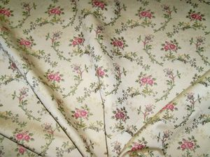 BARANZELLI SCALAMANDRE GINERVA SHABBY ROSES FLORAL BROCADE FABRIC 10 YARDS CREAM PINK PURPLE