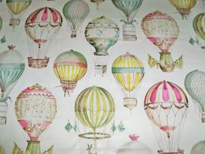 MANUEL CANOVAS HOT AIR BALLOONS TOILE FABRIC 20 YARDS PINK GREEN AQUA MULTI