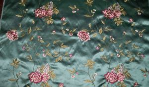 BARANZELLI AUDRIANA EMBROIDERED BOUQUETS SILK SATIN UPHOLSTERY FABRIC 10 YARDS TEAL